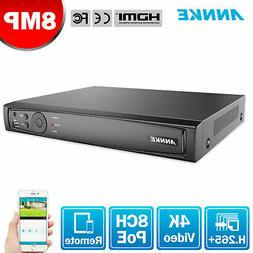 ANNKE 8CH 4K 8MP NVR Video Recorder for Surveillance Securit