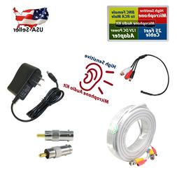 CCTV Microphone for spy Security Camera RCA Audio Mic White