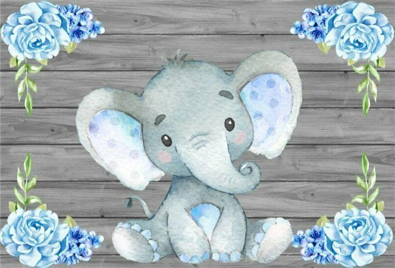 AOFOTO 5x3ft Cute Baby Elephant Backdrop Baby Shower Party D
