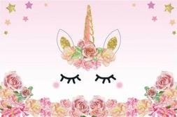 AOFOTO Perfect Cartoon Pink Unicorn Background Birthday Part